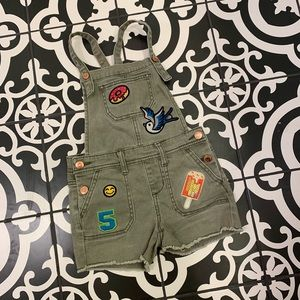 Cat & Jack Trendy Olive Overall Shorts w/ Patches